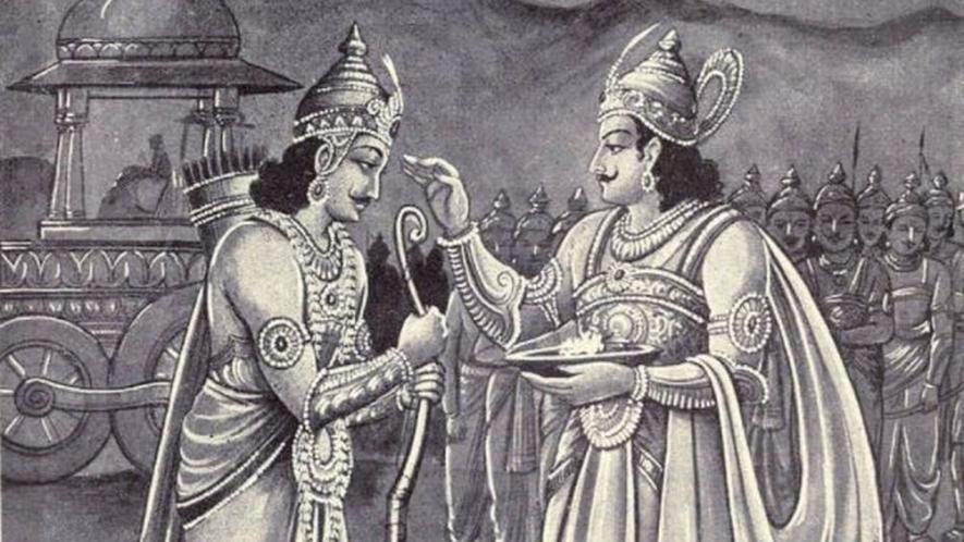 मद्र्राज शल्य को अपना सारथी बनाने के लिए अंगराज कर्ण और दुर्योधन